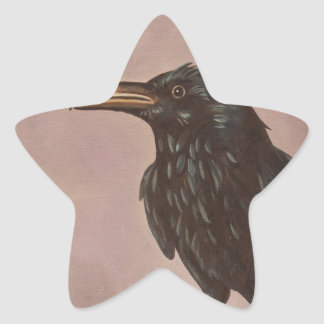 Crow On A Marble Star Sticker