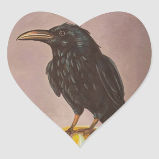 Crow On A Marble Heart Stickers