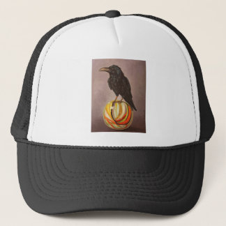 Crow On A Marble Trucker Hat