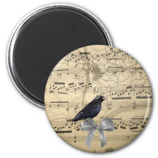 Crow on a music sheet 2 inch round magnet