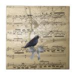 Crow on a music sheet ceramic tiles