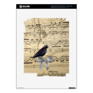 Crow on a music sheet iPad 3 decals
