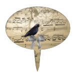 Crow on a music sheet oval cake toppers