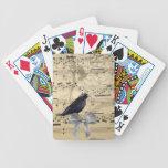 Crow on a music sheet poker deck