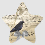 Crow on a music sheet star stickers