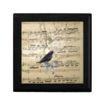 Crow on a music sheet trinket boxes