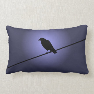 Crow on a Telephone Wire Lumbar Pillow