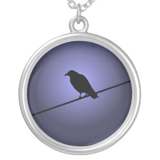 Crow on a Telephone Wire Silver Plated Necklace