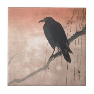 Crow on a Willow Branch Ceramic Tile