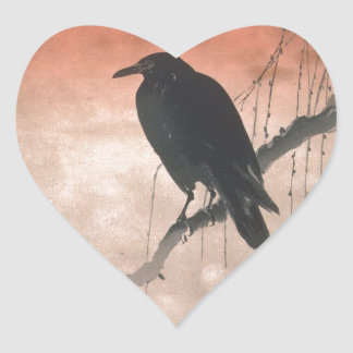 Crow on a Willow Branch Heart Sticker