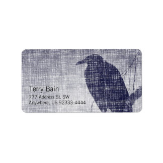 Crow on a Willow Branch Label