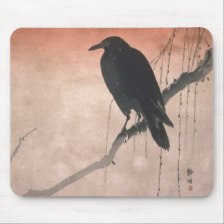 Crow on a Willow Branch Mouse Pad