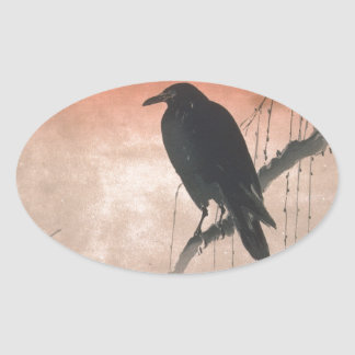 Crow on a Willow Branch Oval Sticker