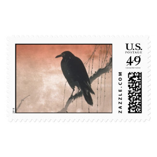 Crow on a Willow Branch Postage Stamps