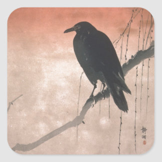 Crow on a Willow Branch Square Sticker