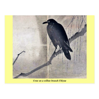 Crow on a willow branch Ukiyoe Postcard