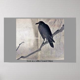 Crow on a willow branch Ukiyoe Print