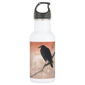 Crow on a Willow Branch Water Bottle