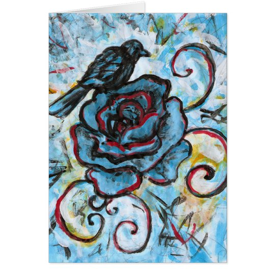 Crow on Blue Rose Card