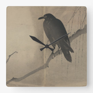 Crow on Branch Vintage Art Accent Clock