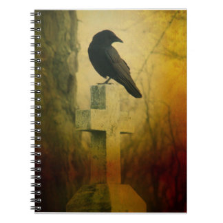 Crow On Cross Spiral Notebooks