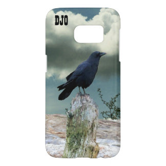 Crow on Driftwood  your initials Samsung Galaxy S7 Case