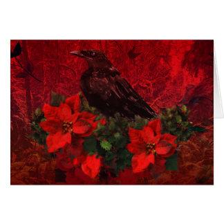 Crow on Poinsettias and Holly Christmas Card