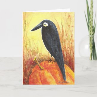 Crow on Pumpkin card