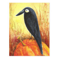 Crow on Pumpkin Postcard