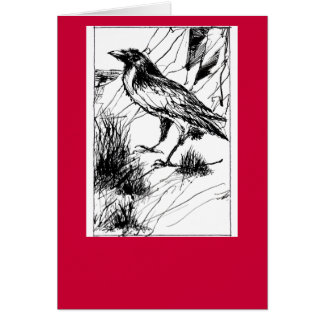 Crow on red folded card