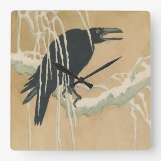 Crow on Snowy Branch Vintage Art Accent Clock