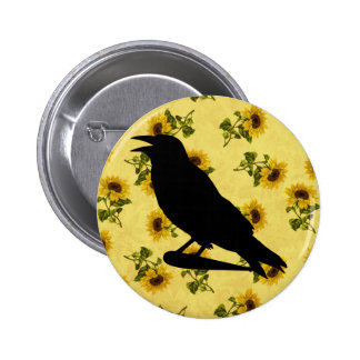 Crow on Sunflowers Pinback Button
