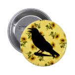 Crow on Sunflowers Pins
