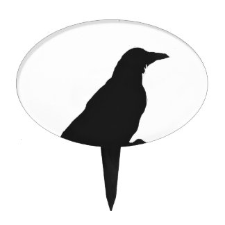 Crow outline cake topper