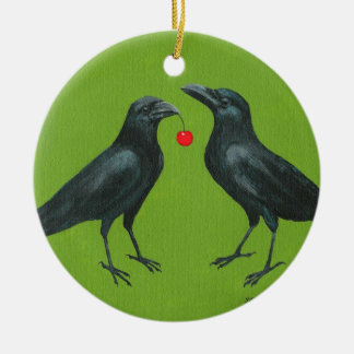 crow pair w/cherry ornament
