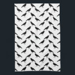 "Crow Pattern. Kitchen Towel<br><div class=""desc"">A pattern of crow birds in black and white.</div>"
