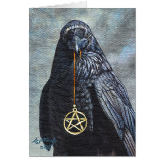 Crow Pentacle Greeting Card