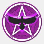Crow Pentacle - Purple Round Sticker