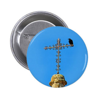 Crow perched on Iron cross Pinback Button