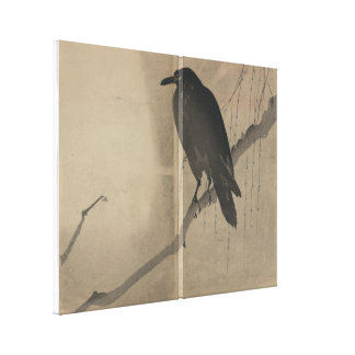 Crow Perched on Willow Branch Stretched Canvas Print