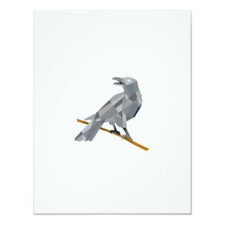 Crow Perching Looking Back Low Polygon Card