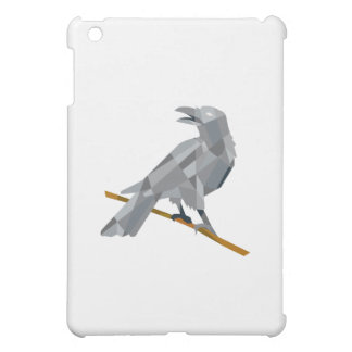 Crow Perching Looking Back Low Polygon Cover For The iPad Mini