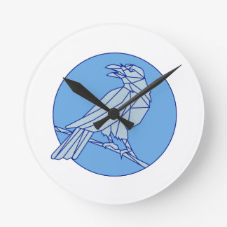 Crow Perching Looking Side Circle Mono Line Round Clock