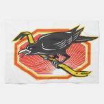 Crow Perching on Crowbar Retro Hand Towels