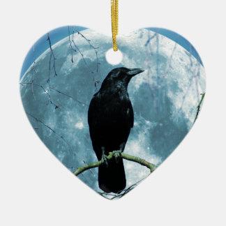 Crow Raven Moon Night Gothic Fantasy Stunning Ceramic Ornament