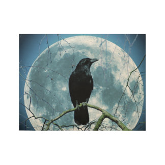 Crow Raven Moon Night Gothic Fantasy Stunning Wood Poster