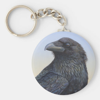 Crow Raven Sunset Painting Art Keychains