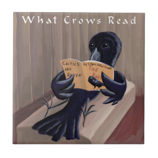 Crow Reading The Raven Funny Tile