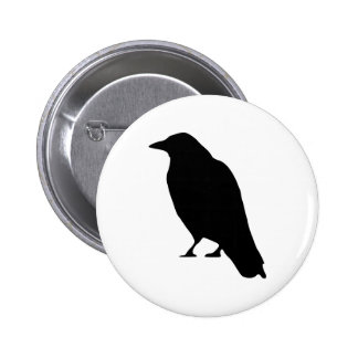 Crow Silhouette Button