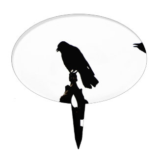 Crow silhouettes showing different phases of cake topper